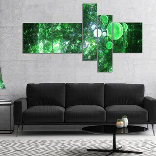 Designart 'Green Fractal Planet of Bubbles' Abstract Wall Art Canvas