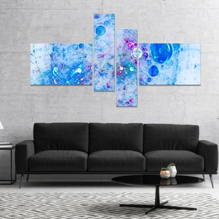 Designart 'Blue Fractal Planet of Bubbles' Abstract Wall Art Canvas