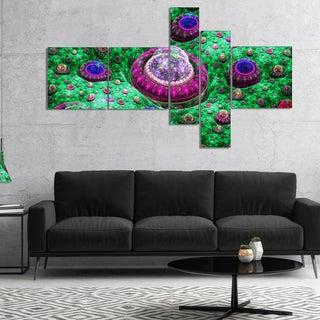 Designart 'Green Fractal Exotic Planet' Abstract Canvas Art Print
