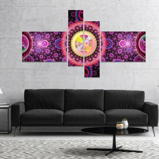 Designart 'Bright Pink Psychedelic Relaxing Art' Abstract Canvas Art Print