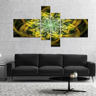 Designart 'Yellow and Green Fractal Flower' Abstract Canvas Art Print