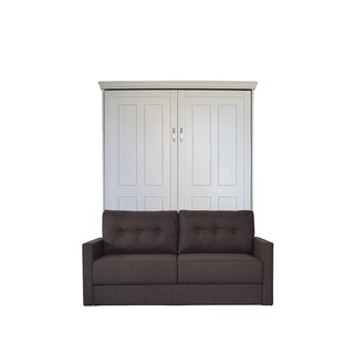 Queen Devonshire Sofa-Murphy Bed in Antique White Finish and Scotts Highland Fabric