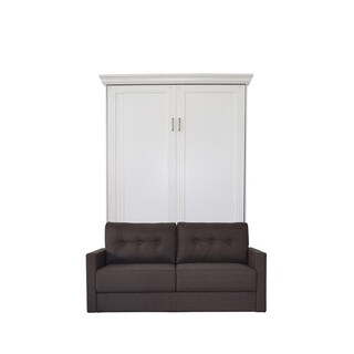Queen Empire Sofa-Murphy Bed in Antique White Finish and Scotts Highland Fabric