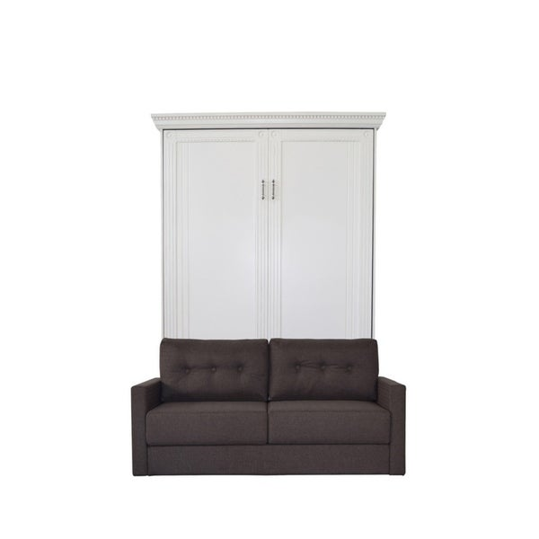 White Murphy Bed With Sofa : Queen empire sofa murphy bed in antique white finish and