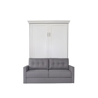 Queen Empire Sofa-Murphy Bed in Antique White Finish and Heather Tweed Fabric