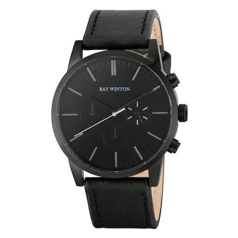 Ray Winton Men's Chronograph Black Dial Black Leather Watch