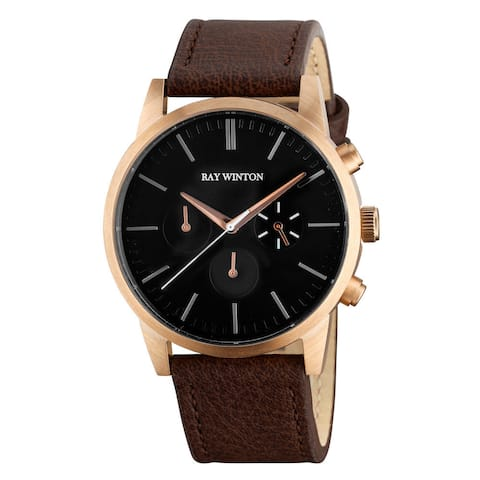 Ray Winton Men's Chronograph Black Dial Brown Genuine Leather Watch