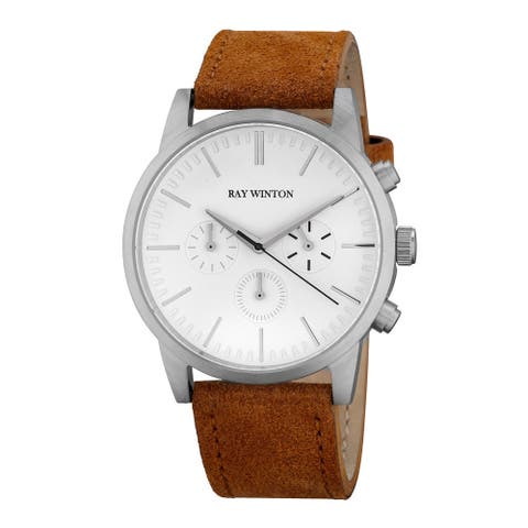 Ray Winton Men's Chronograph White Dial Light Brown Suede Leather Watch