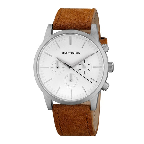 Ray Winton Men's Chronograph White Dial Light Brown Suede Leather Watch. Opens flyout.