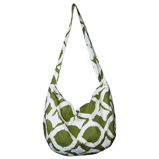 Hand Batiked Globe Trotter Bag Fisheye Design - Olive (Ghana)