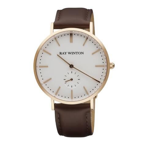 Ray Winton Men's Analog White Dial Genuine Burgundy Leather Watch