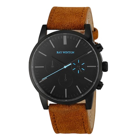 Ray Winton Men's Chronograph Black Dial Light Brown Suede Leather Watch