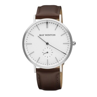Ray Winton Men's WI1102 Analog White Dial Genuine Brown Leather Watch