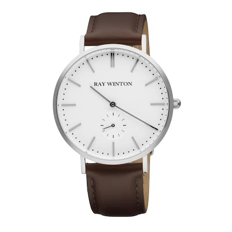 Ray Winton Men's Analog White Dial Genuine Brown Leather Watch