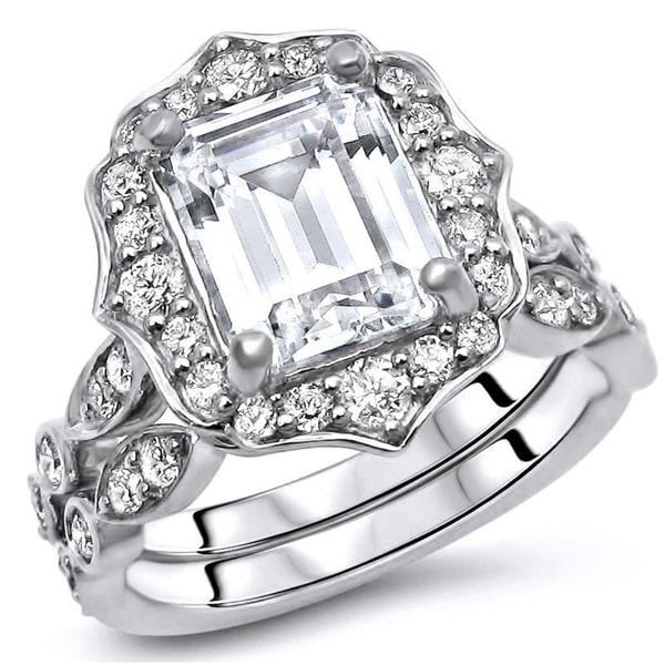 8824ad524cf41 Shop 2 1/2 ct Emerald Cut Moissanite Center 3/5 ct Diamond ...