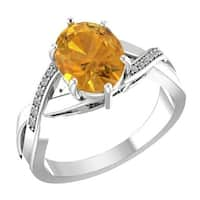 Belinda Jewelz Oval-shaped Citrine Ring with Diamonds - Yellow
