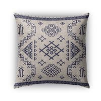 Kavka Designs beige; blue aztec light blue outdoor pillow with insert
