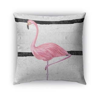 Kavka Designs grey; pink; black flamingo outdoor pillow with insert