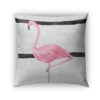 Kavka Designs grey; pink; black flamingo outdoor pillow with insert