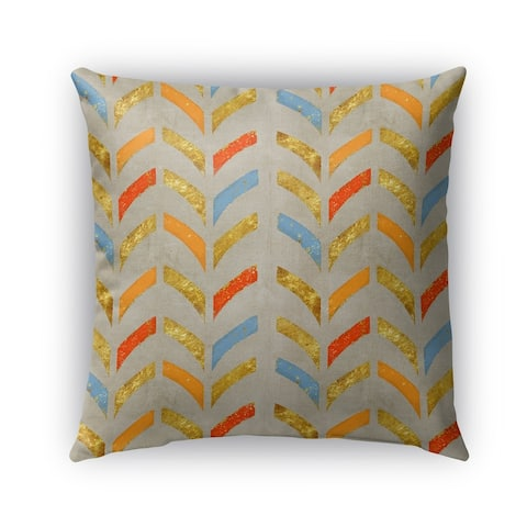 Kavka Designs orange; blue; gold; grey bari outdoor pillow with insert
