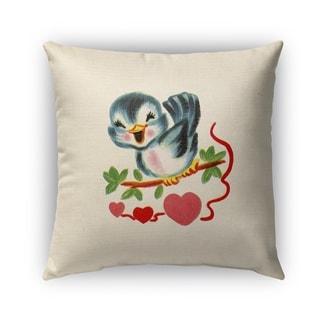 Kavka Designs blue; green; red; black tweet heart outdoor pillow with insert