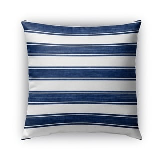 Kavka Designs blue; white nautical stripe outdoor pillow with insert