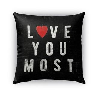 Kavka Designs black; white; red love you most outdoor pillow with insert