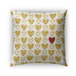 Kavka Designs gold; red one red heart outdoor pillow with insert