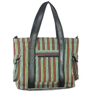 Handmade Striped Tote with Tire Straps (Nepal)