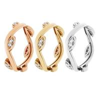London Fine Jewelry 14K Stackable Diamond Foliage Ring