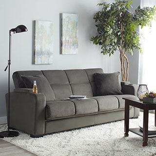Portfolio Tevin Gray Velvet Convert-a-Couch Storage Arm Futon Sofa Sleeper