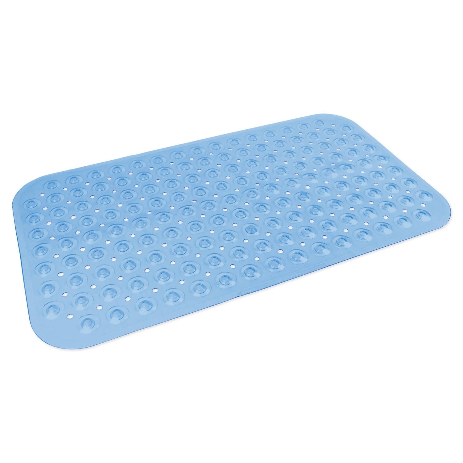Medium Vinyl Bath Mat - Blue (Blue) (PVC, Solid Color)