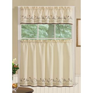RT Designers Collection Dream Tier and Valance Kitchen Curtain Set