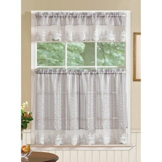 RT Designers Collection Bella Tier and Valance Kitchen Curtain Set