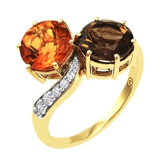 Beverly Hills Charm 14K Yellow Gold 1/4 ct Diamonds and 3 1/2 ct Gemstones Ring