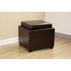 Bi-cast Leather Storage Tray Ottoman - Thumbnail 1