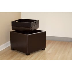 Bi-cast Leather Storage Tray Ottoman - Thumbnail 2