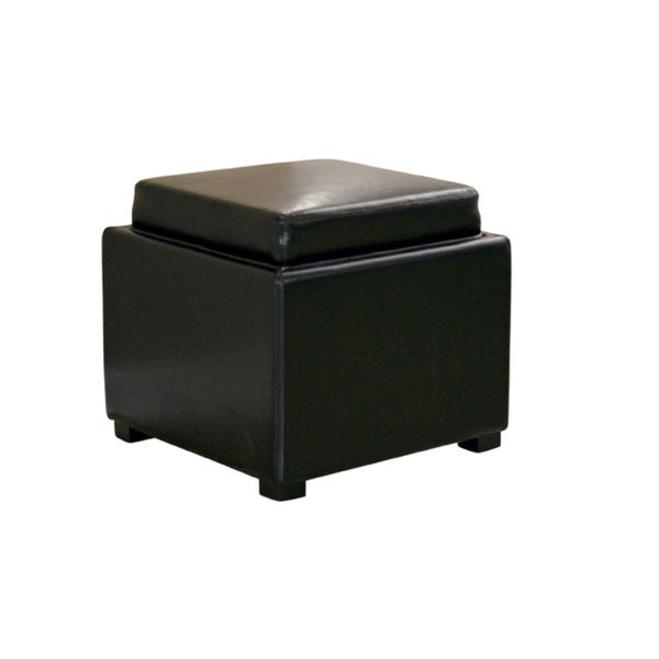 Black By-cast Leather Storage Tray Ottoman
