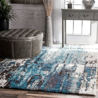 Oliver & James Knight Blue Abstract Painting Area Rug - 6'7 x 9'