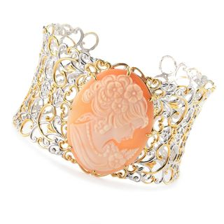 Michael Valitutti Palladium Silver Carved Shell Portrait Cameo Wide Cuff Bracelet