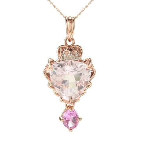 Michael Valitutti 14K Rose Gold Morganite, Pink Sapphire & Diamond Pendant