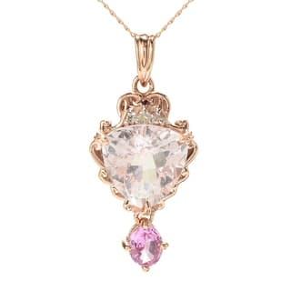 Michael Valitutti 14K Rose Gold Morganite, Pink Sapphire & Diamond Pendant https://ak1.ostkcdn.com/images/products/16962451/P23248602.jpg?impolicy=medium