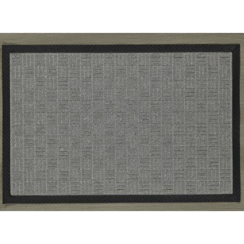 "Ribbed Carpet Rubber Backed Entrance Scraper Grey DoorMat 24"" x 36"""