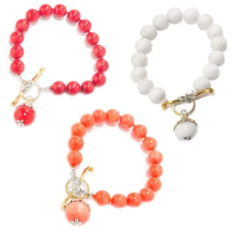 Gems en Vogue Palladium Silver Bamboo Coral Beaded Charm Drop Toggle Bracelet