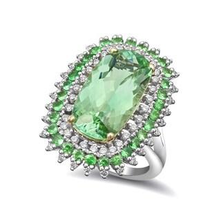 14k Two-tone Gold 7.9ct TGW Mint Green Namibian Tourmaline, Green Tsavorite and White Diamond Ring (G-H, VS2-SI1)
