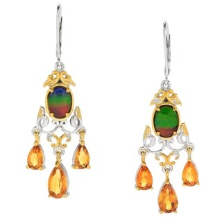 Michael Valitutti Palladium Silver Ammolite & Madeira Citrine Chandelier Earrings