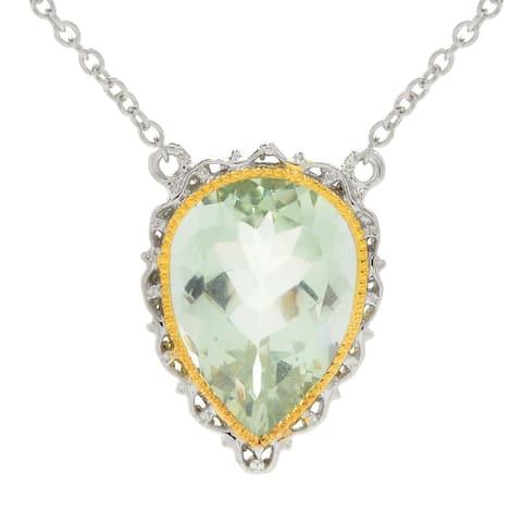 Michael Valitutti Palladium Silver Pear Shaped Green Amethyst Necklack