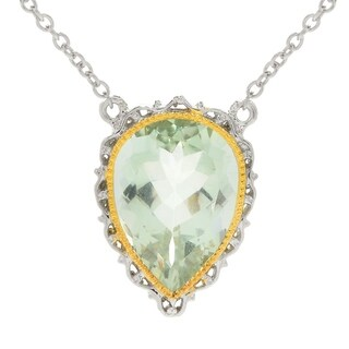 Michael Valitutti Palladium Silver Pear Shaped Green Amethyst Necklack