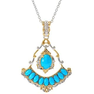 Michael Valitutti Palladium Silver Sleeping Beauty Turquoise Dangling Charm Pendant