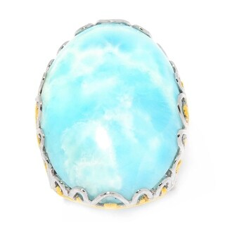 Michael Valitutti Palladium Silver Oval Larimar Scrollwork Ring (3 options available)